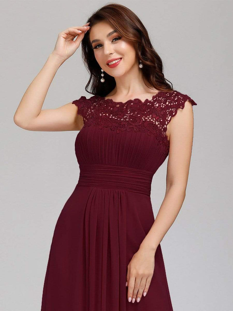 Allanah cap sleeve lace and chiffon bridesmaid dress in burgundy Express NZ wide!