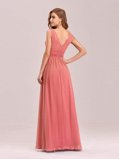 Veda full length classic chiffon bridesmaid dress in coral s8, s10, s12, s14, s16-Bay Bridesmaid