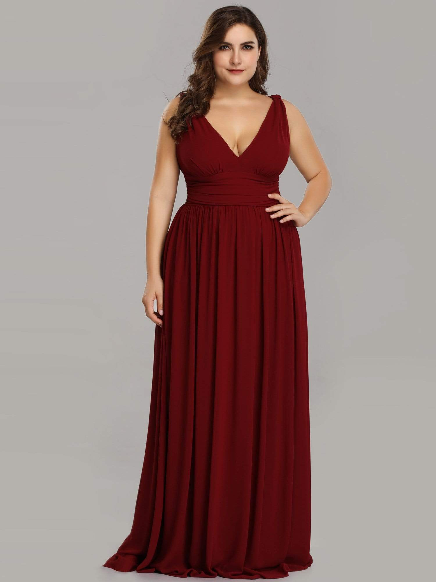Veda V neck and back classic chiffon bridesmaid dress in burgundy-Bay Bridesmaid