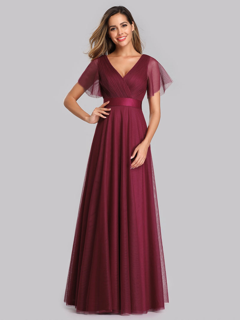 Alma flutter sleeve tulle bridesmaid gown in burgundy Express NZ wide!