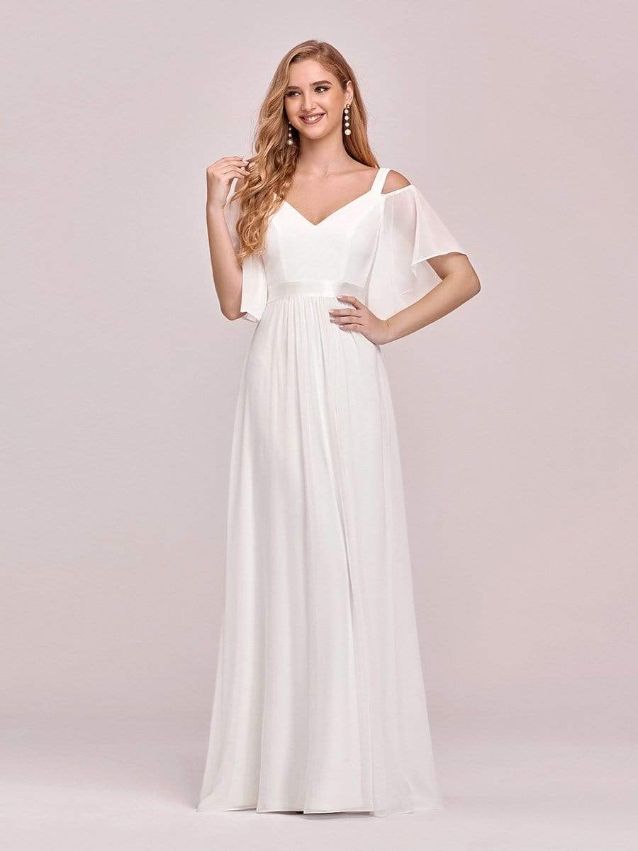 Laila classic sleeved chiffon wedding dress in ivory
