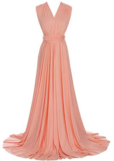 Peach Pink convertible Infinity bridesmaid dress