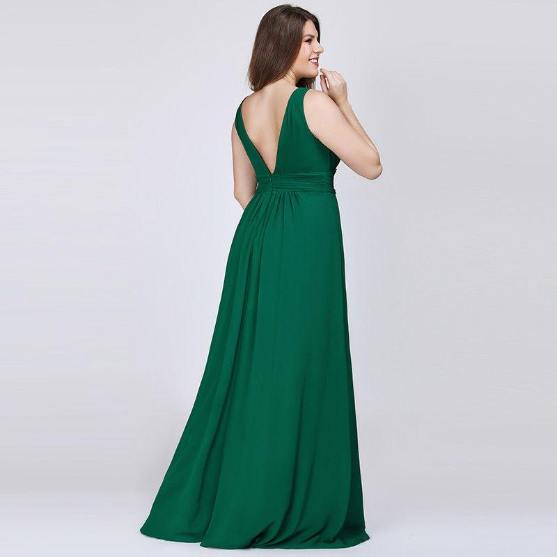 Ayla V neck sleeveless chiffon bridesmaid gown in emerald green s18