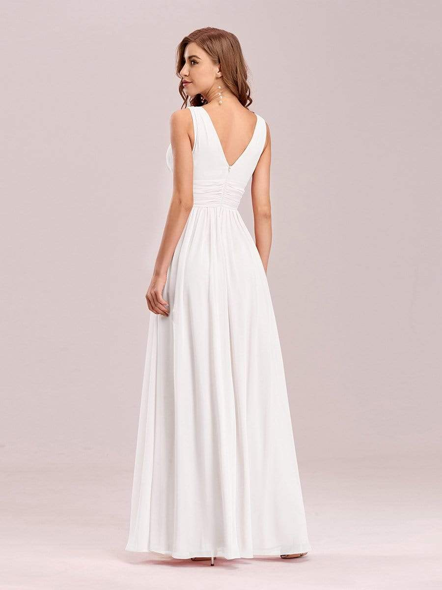 Veda V neck and back classic chiffon wedding dress in white