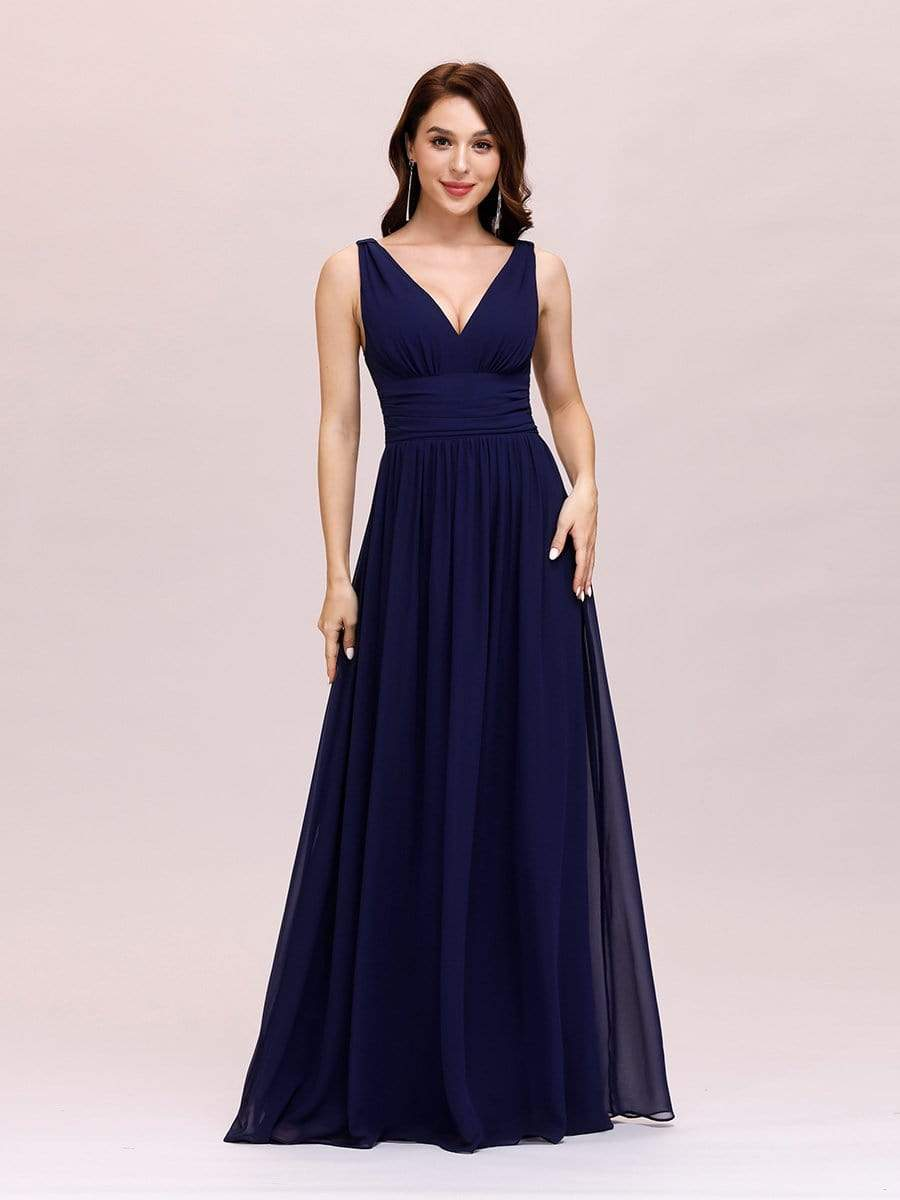 Veda V neck and back classic chiffon bridesmaid dress in navy blue Express NZ wide!