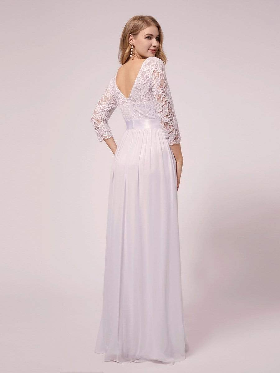 Pricilla sleeved maternity wedding dress in white