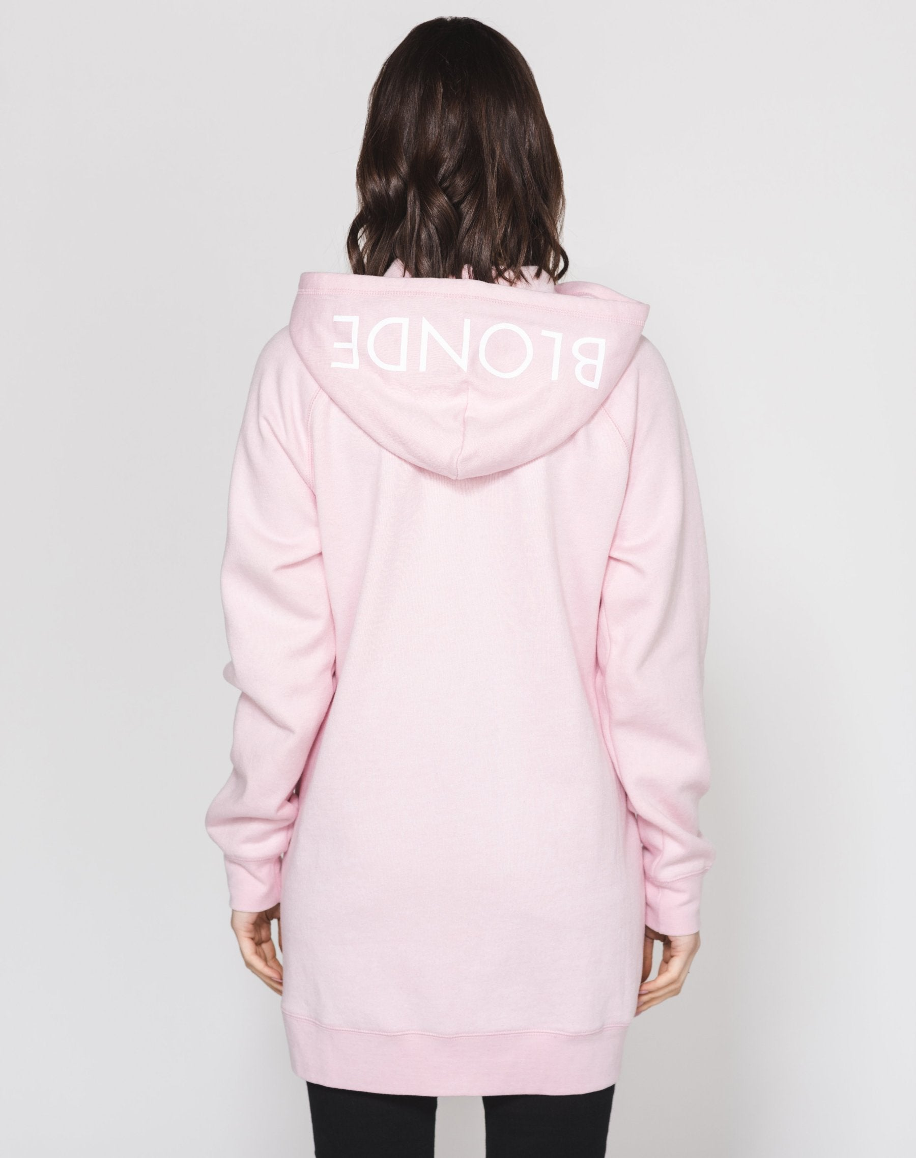 The FLORA Embroidered Zip-Up Hoodie Tunic - PRETTY PINK/BLONDE