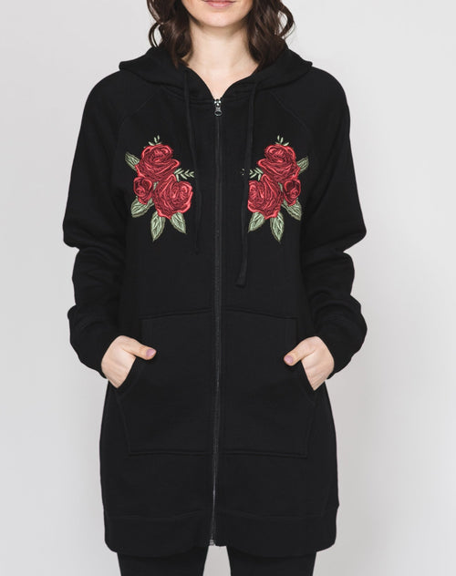 "The ""BRUNETTE"" Flora Embroidered Zip-Up Hoodie Tunic 