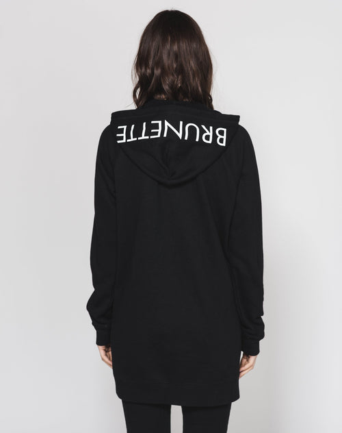 The FLORA Embroidered Zip-Up Hoodie Tunic - BLACK/BRUNETTE