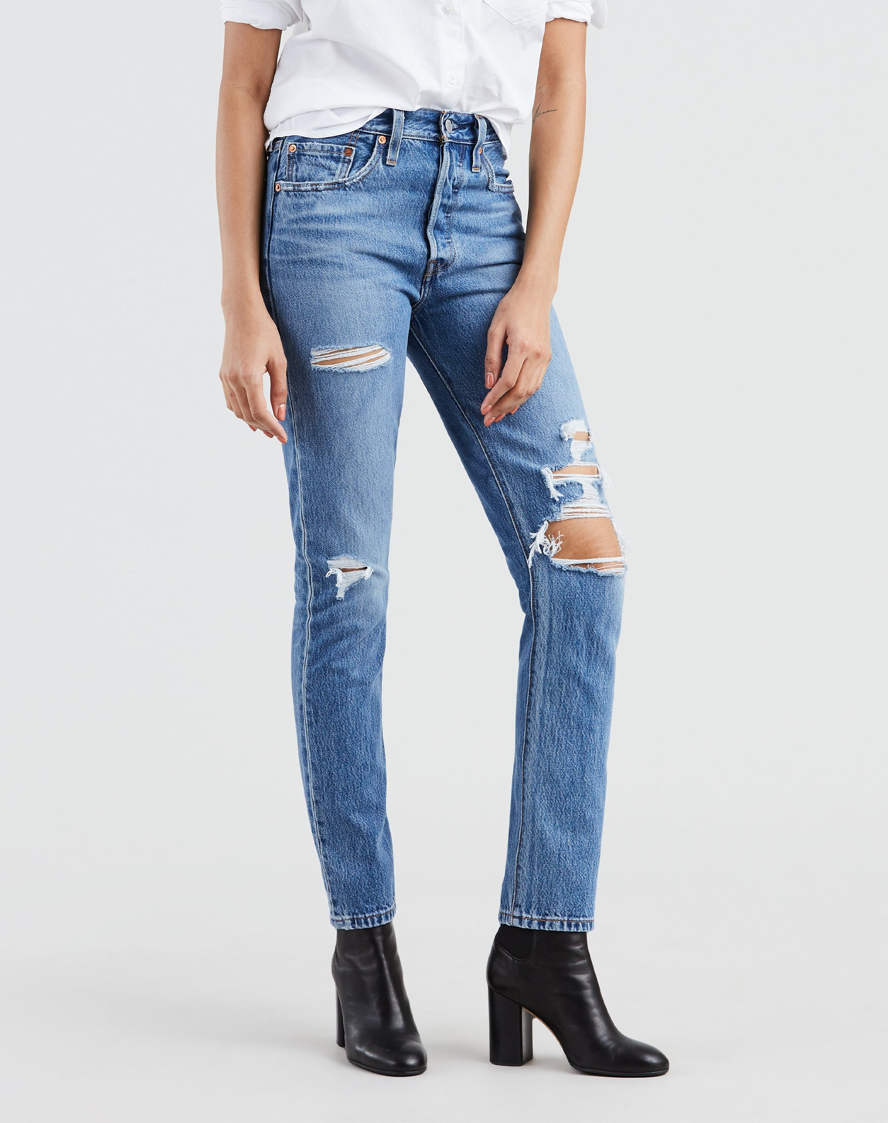 Photo of the Nice as Pie jeans with distressed detailing by Levi's.