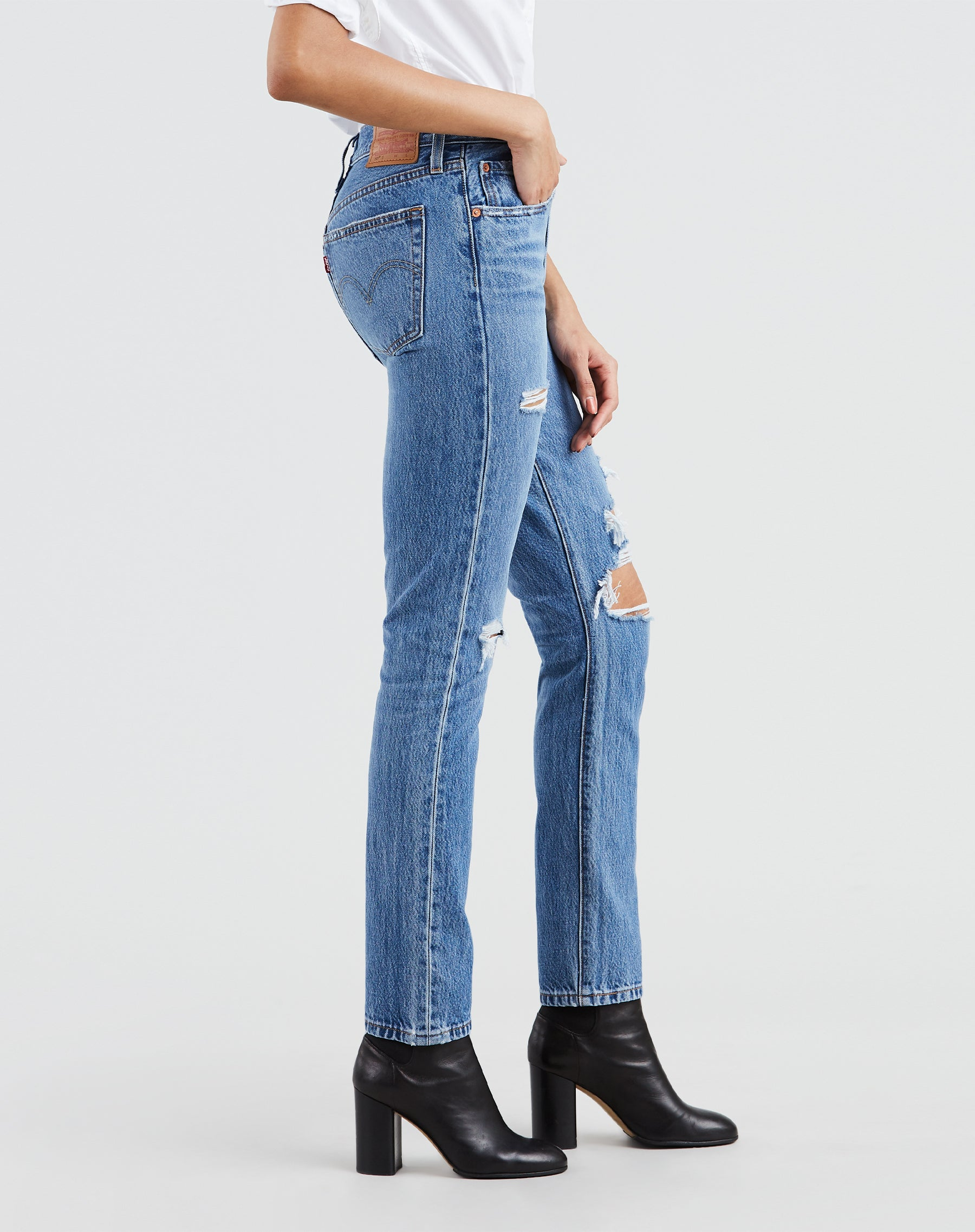Photo of the side of Nice as Pie jeans with distressed detailing by Levi's.