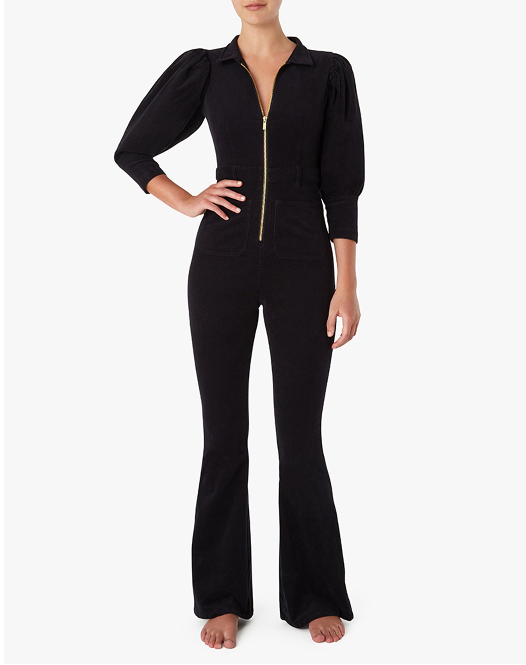 "The ""70S CORDUROY"" Jumpsuit in Black 