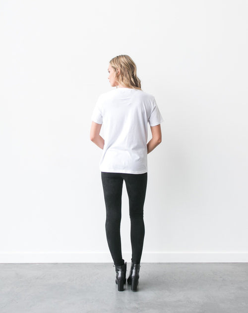 Photo of the back of the Brunette Ryan crew neck tee in white by Brunette the Label.