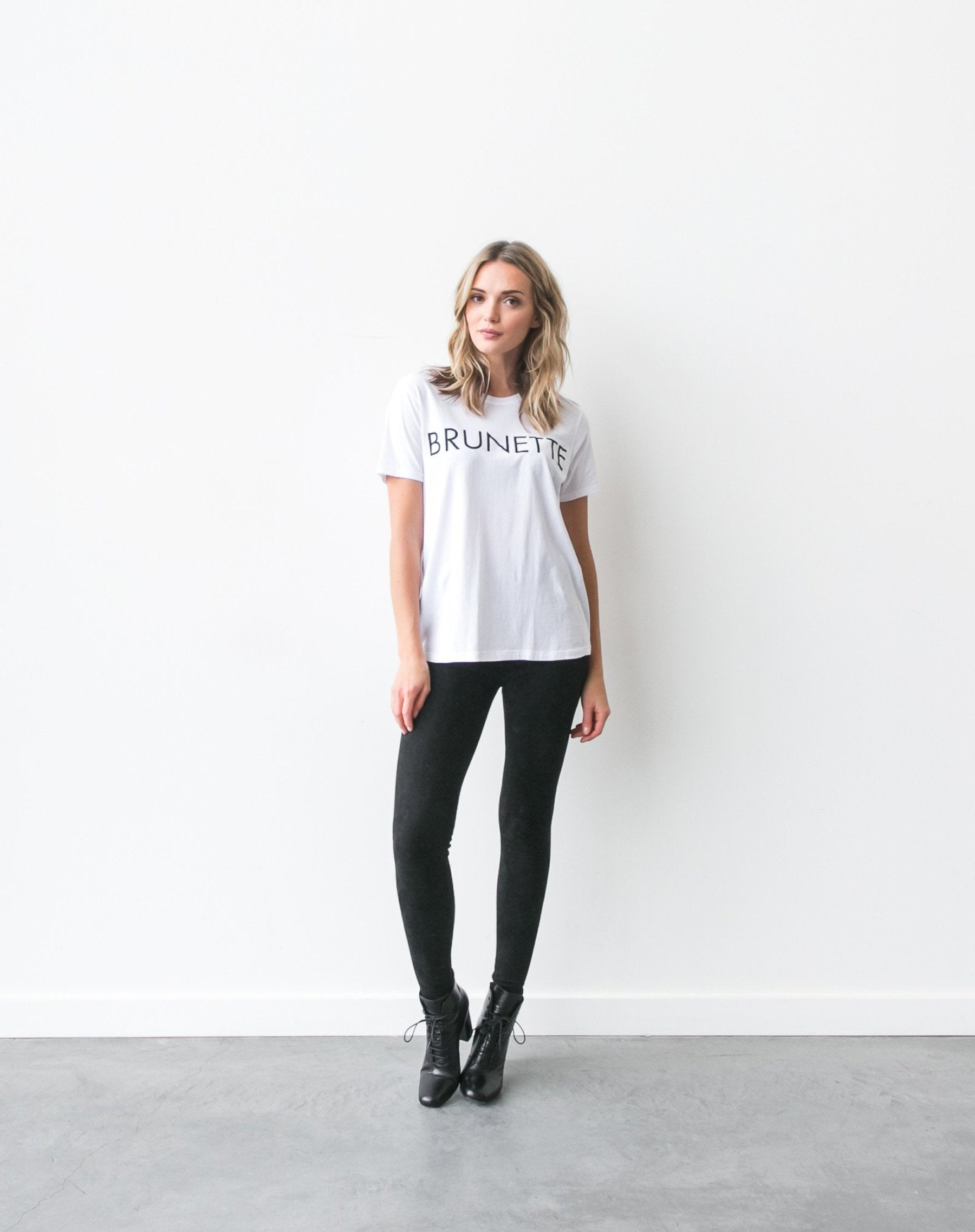 Photo of the Brunette Ryan crew neck tee in white by Brunette the Label.