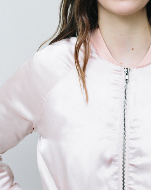 "The ""Courtney"" Bomber in Champagne Pink"