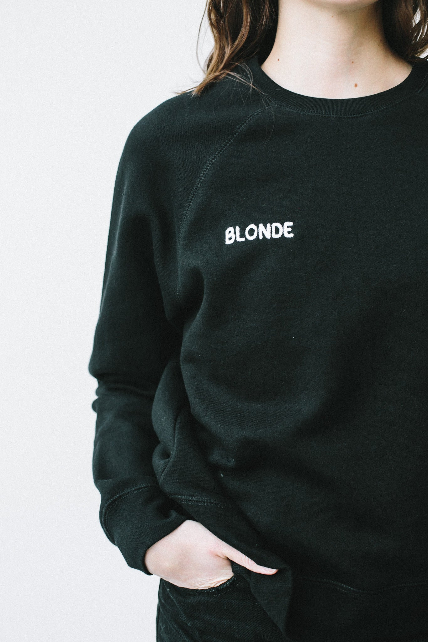 "BLONDE chain stitch ""middle sister"" crew in black"
