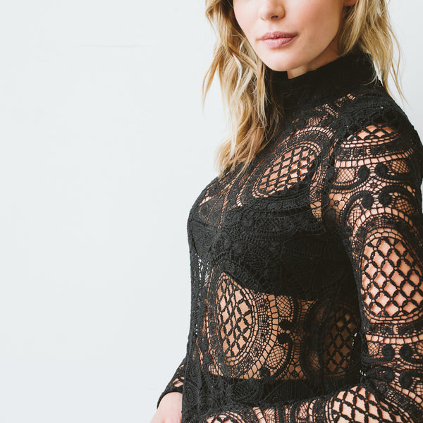 "The ""Tracy"" lace mock neck"