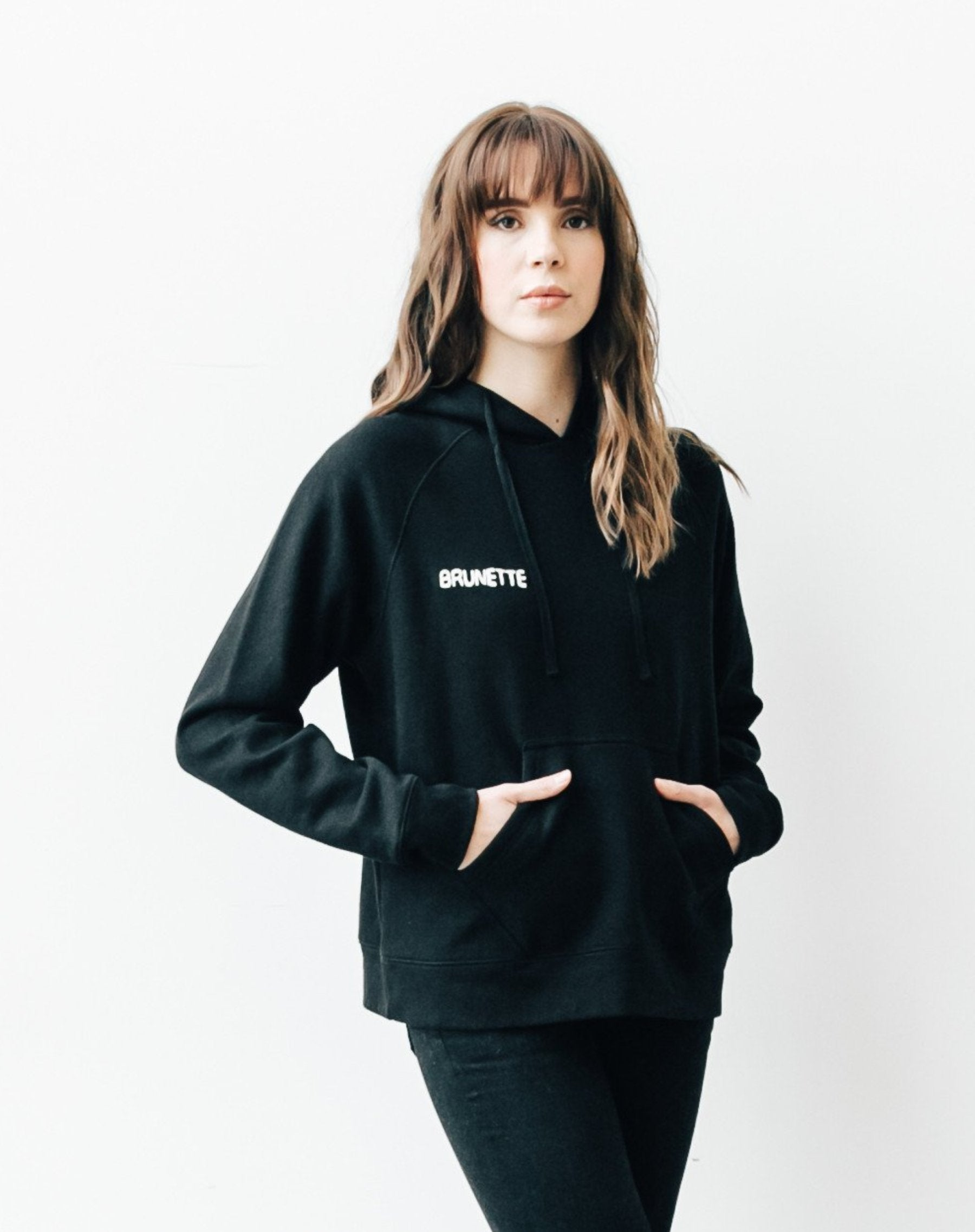 "BRUNETTE chain stitch ""middle sister"" hoodie in black"