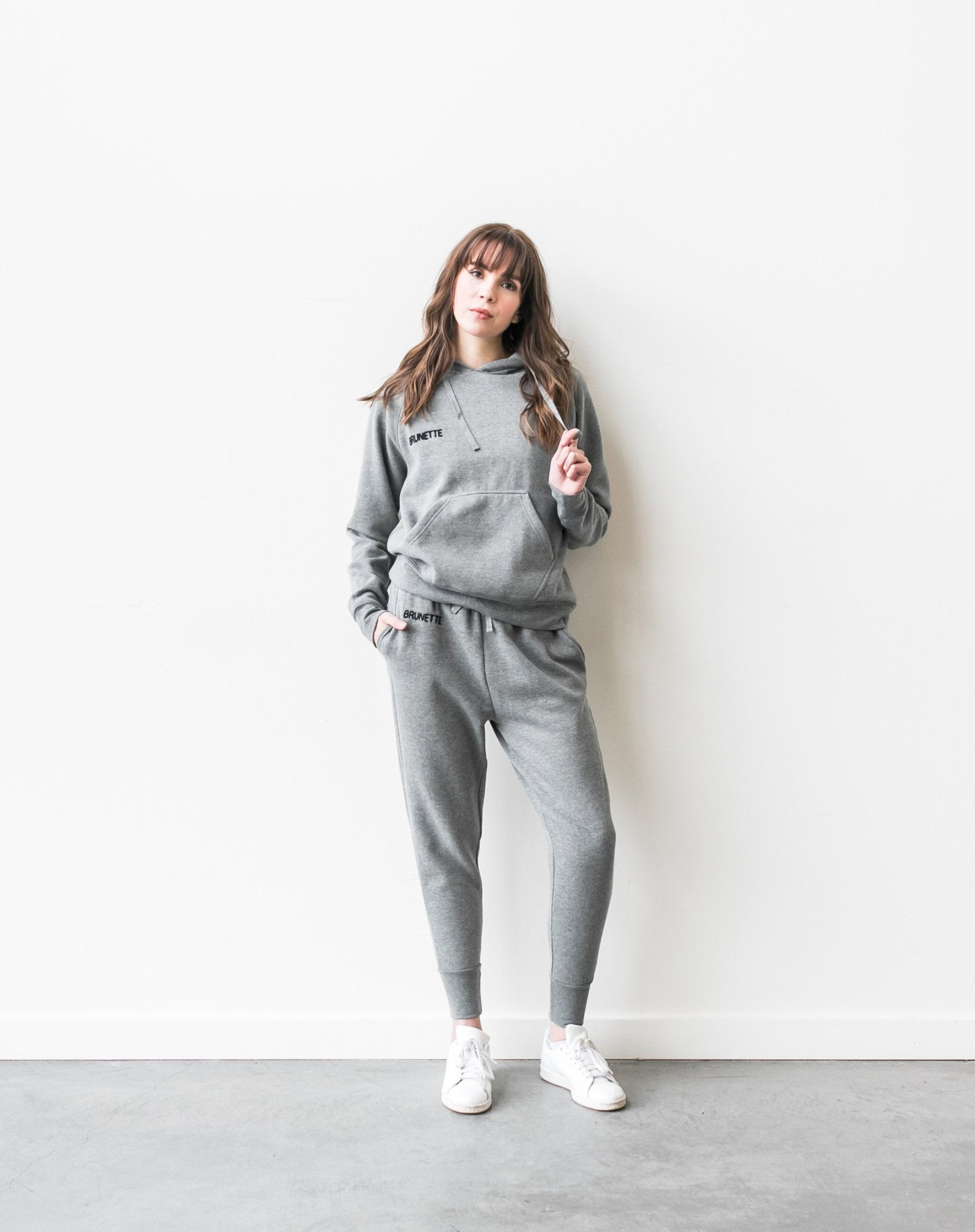 "BRUNETTE chain stitch ""middle sister"" joggers in heather grey"