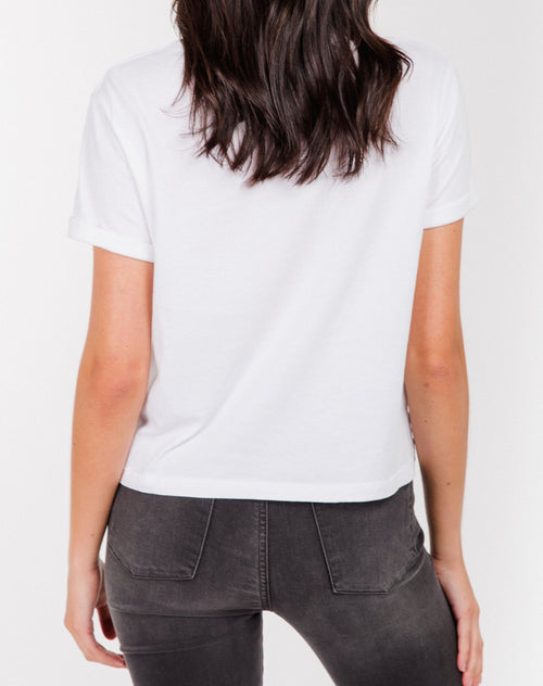 Photo of the back of the Brunette cropped tee in white by Brunette the Label.