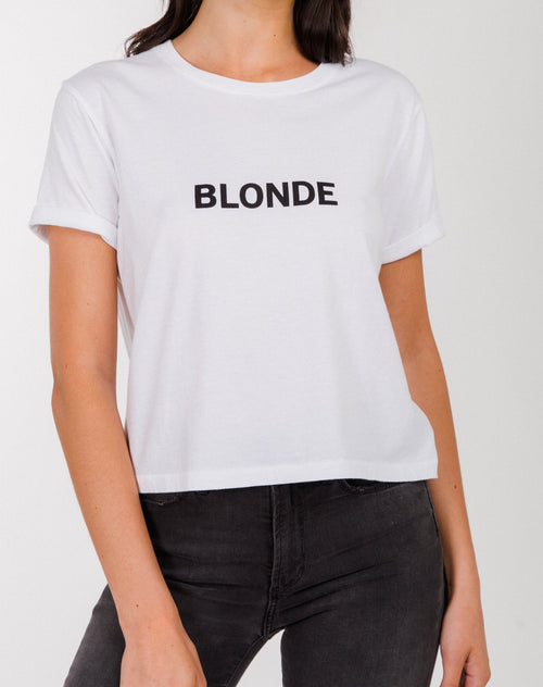 Photo of the Blonde Classic creck neck tee in cropped fit in white by Brunette the Label.