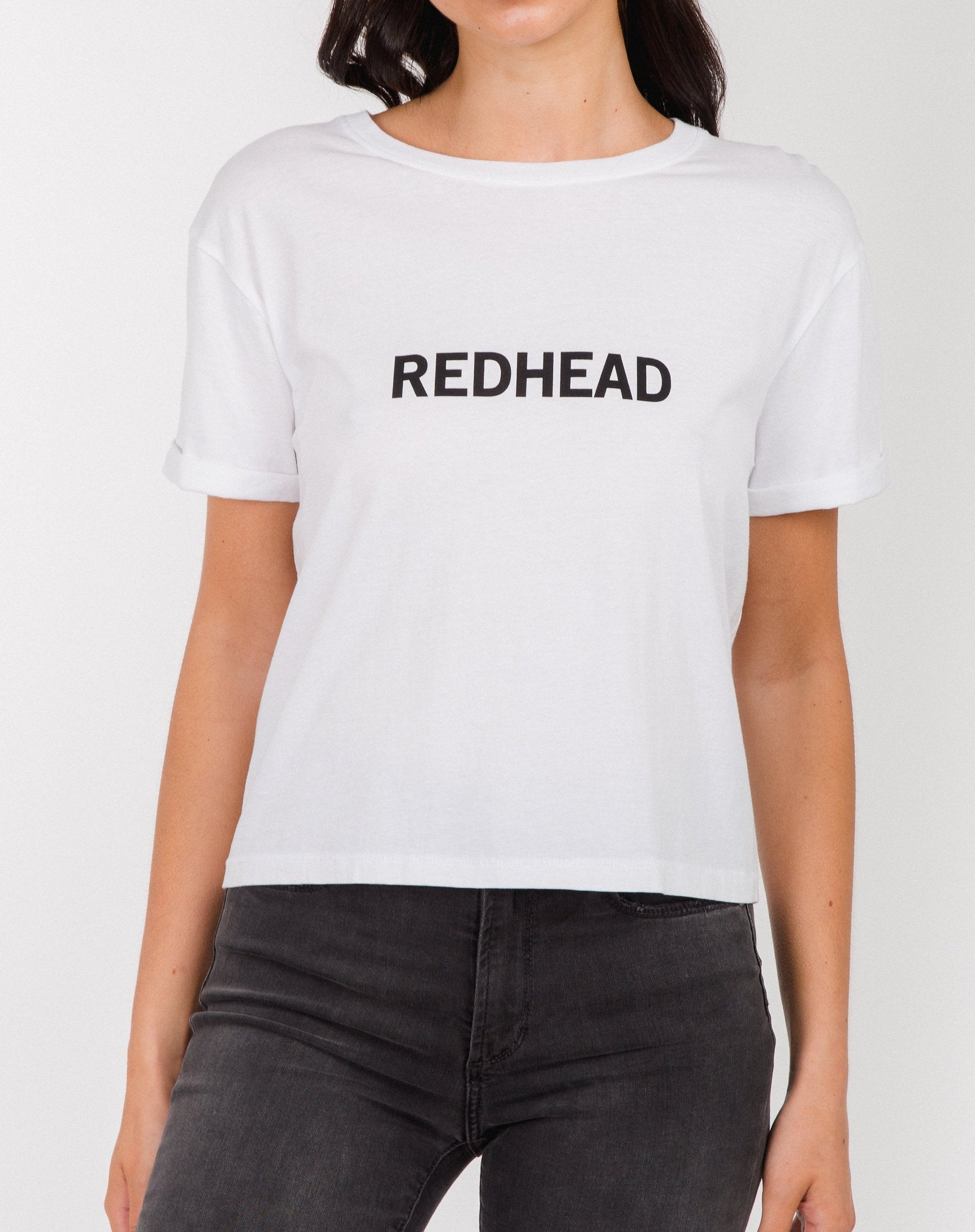 Photo of the Redhead cropped tee in white by Brunette the Label.