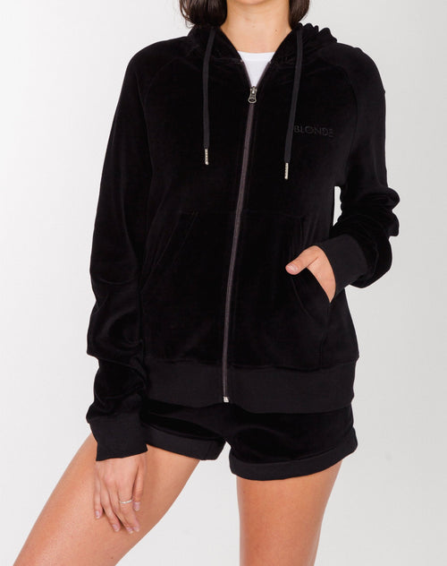 """BLONDE"" ZIP UP VELOUR HOODIE 