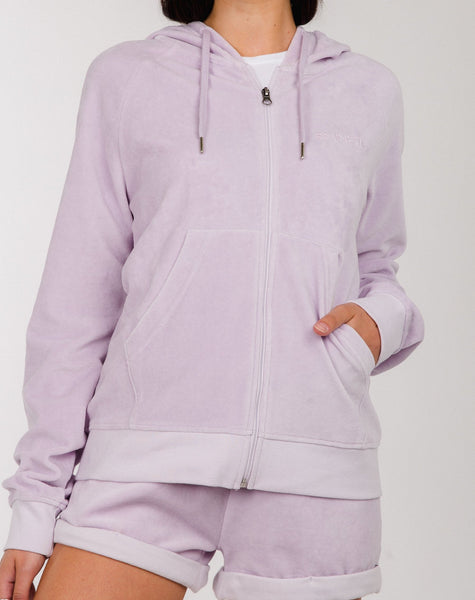 """BRUNETTE"" ZIP UP VELOUR HOODIE 