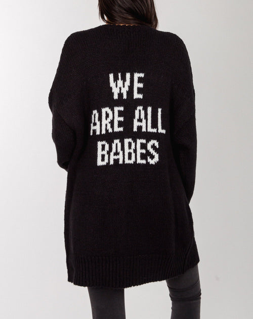 "The ""WE ARE ALL BABES"" Knit Cardigan"