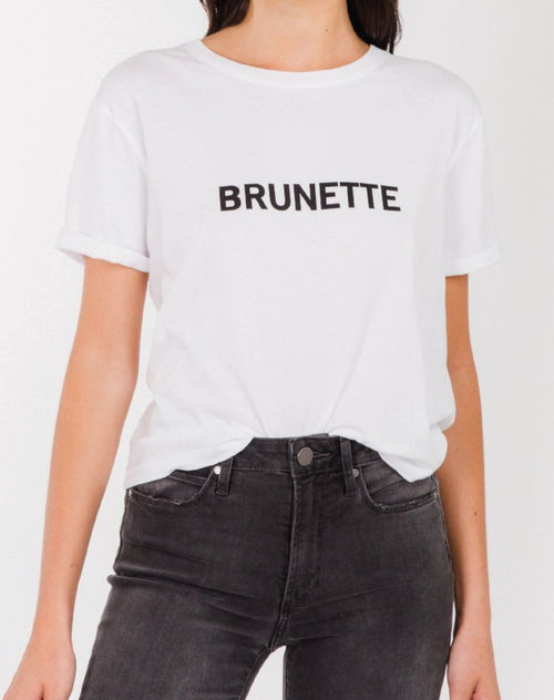 Photo of the Brunette cropped tee in white by Brunette the Label.