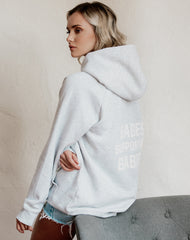 The Babes Supporting Babes big sister hoodie in pebble grey by Brunette the Label.