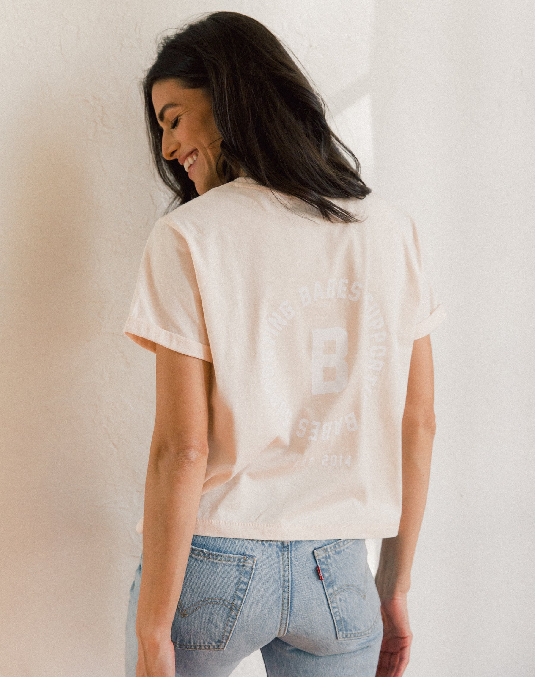 "The ""BABES SUPPORTING BABES"" Varsity Cropped Crew Neck Tee 