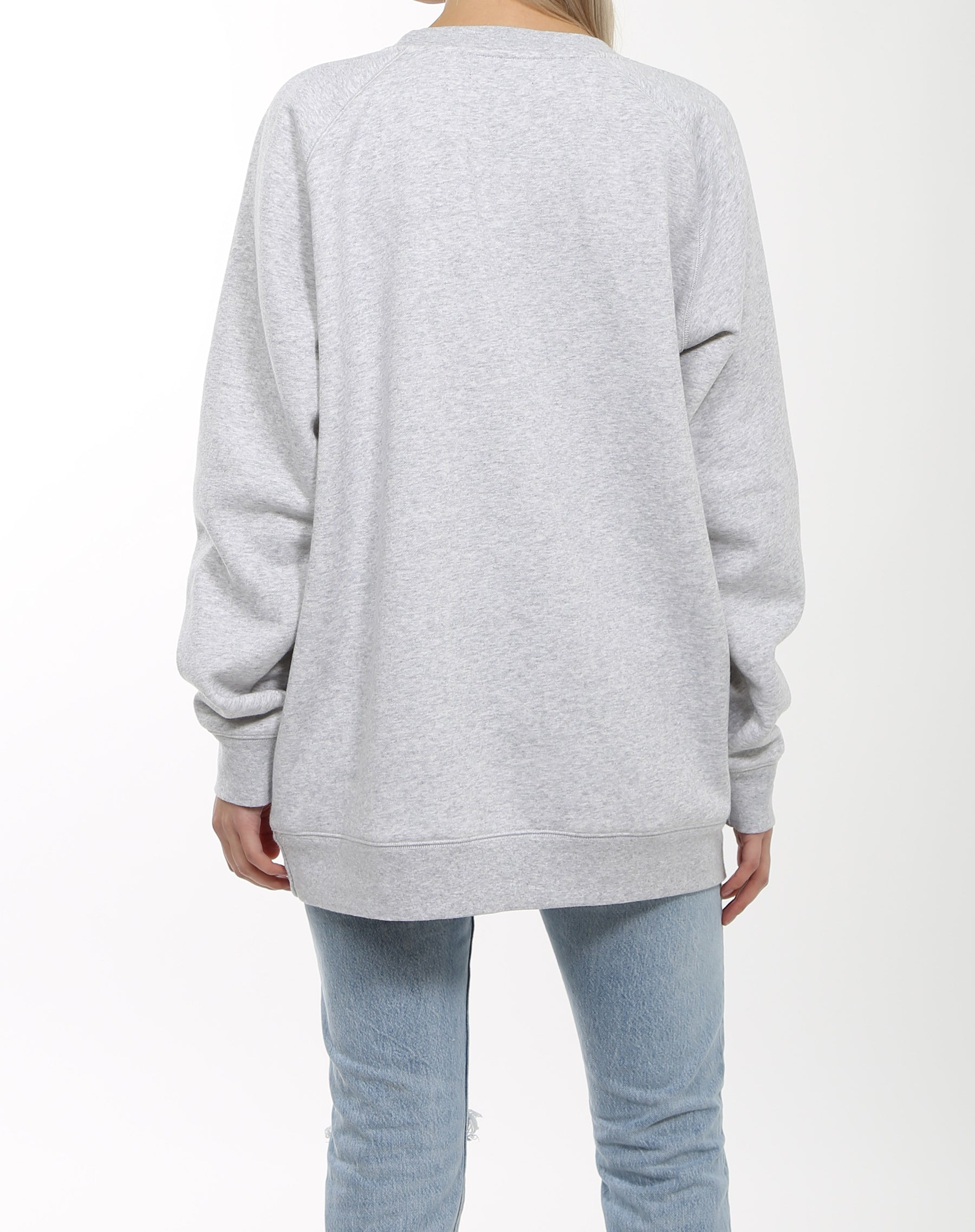 Photo of the back of the Redhead big sister crew neck sweatshirt in pebble grey by Brunette the Label.