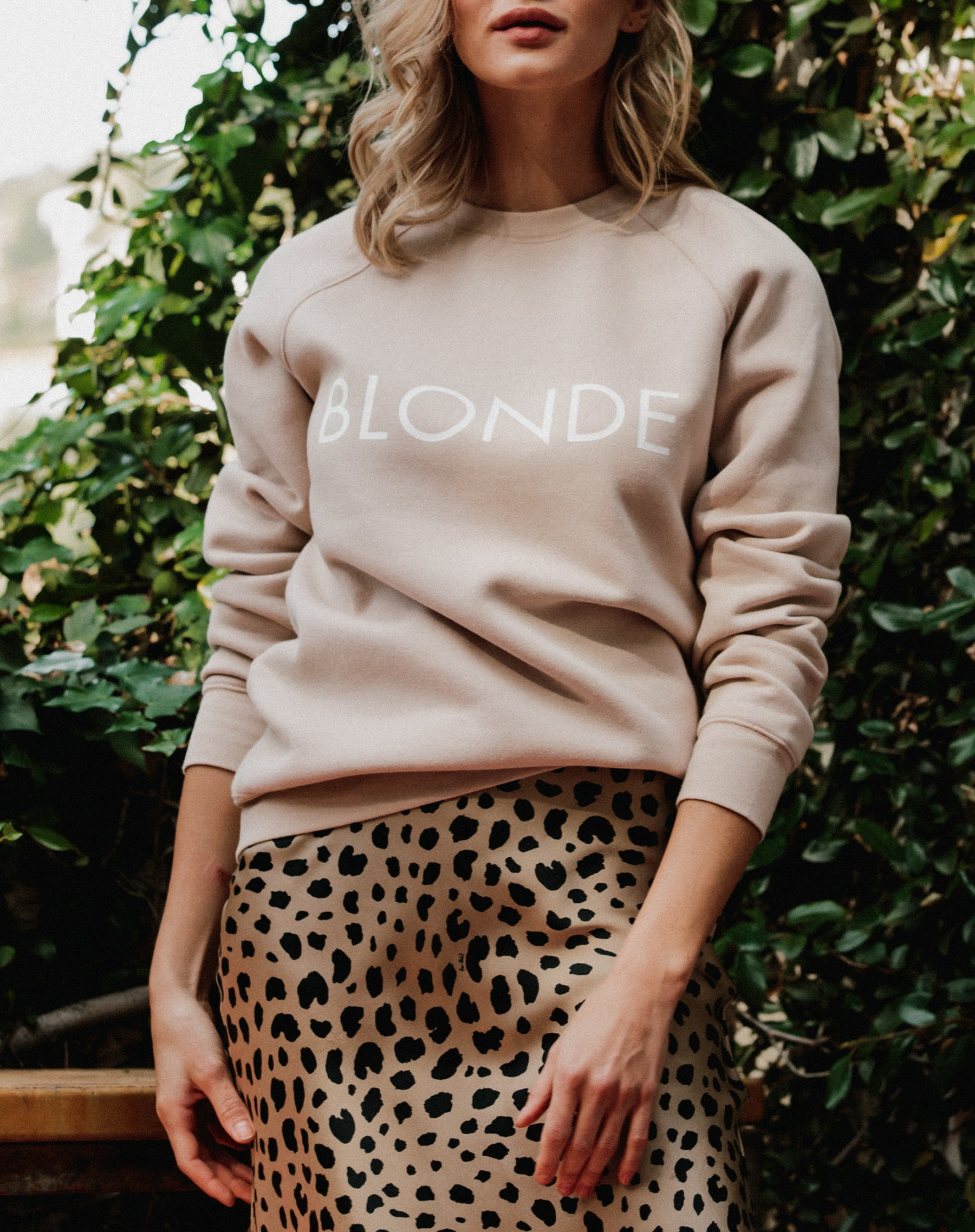 Photo of the Blonde classic crew neck sweatshirt in toasted almond by Brunette the Label.