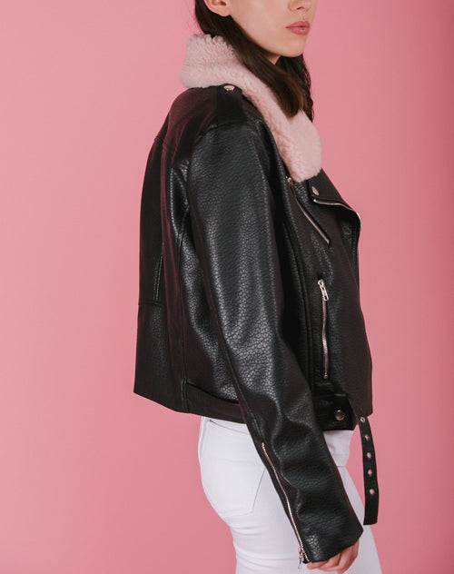 "The ""BRUNETTE"" Florence Vegan Leather Moto Jacket 