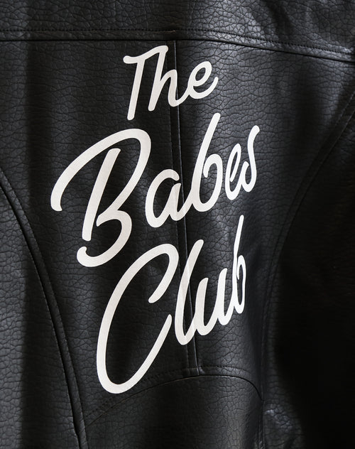 Close up photo of the Florence vegan leather moto jacket in black with the babes club print by Brunette the Label.