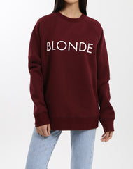 Photo of the Blonde classic crew neck sweatshirt in burgundy by Brunette the Label.
