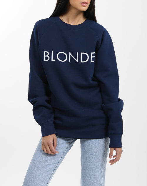 Photo of the Blonde classic crew neck sweatshirt in navy by Brunette the Label.