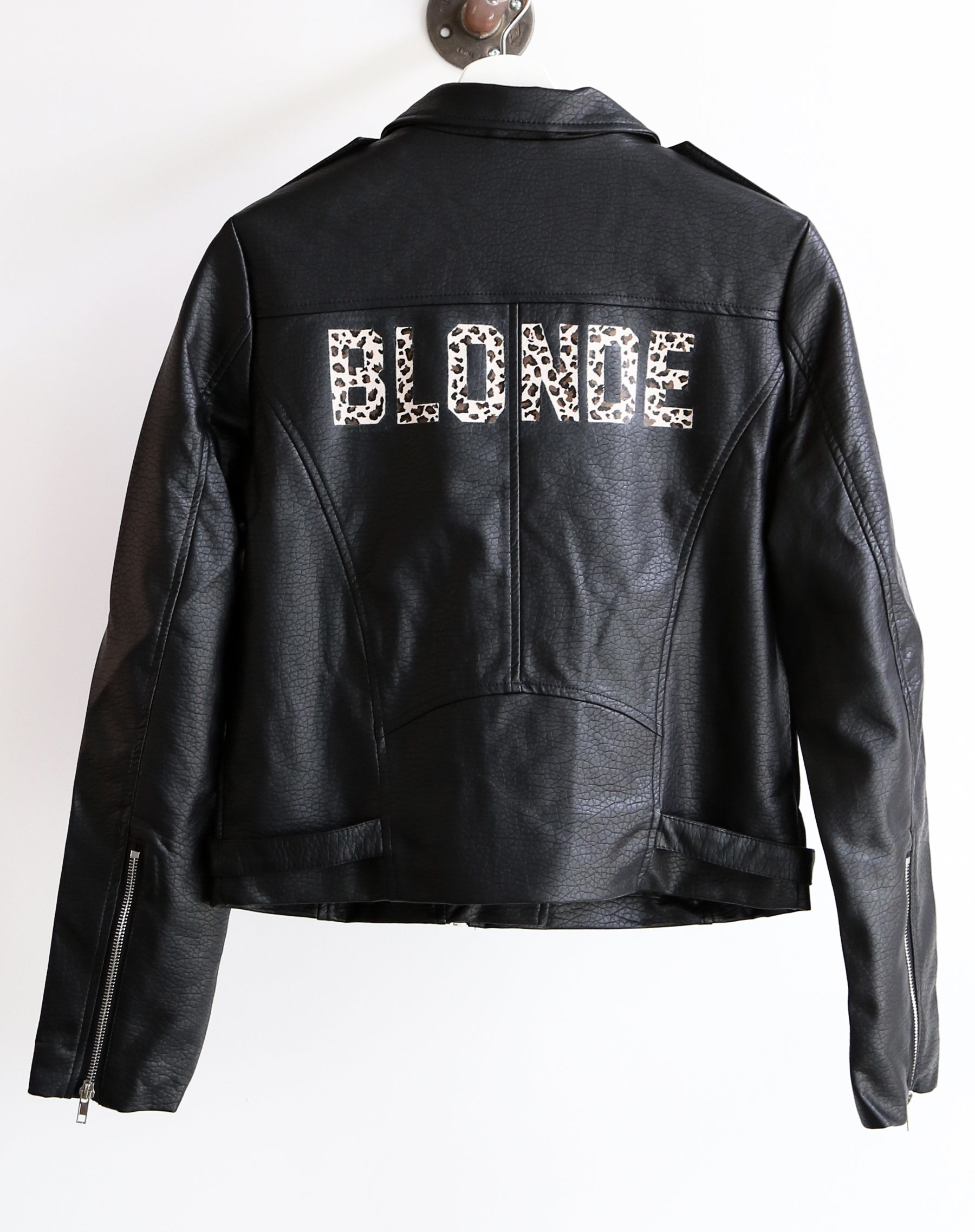 The Blonde Florence hand painted vegan leather moto jacket in leopard by Brunette the Label.