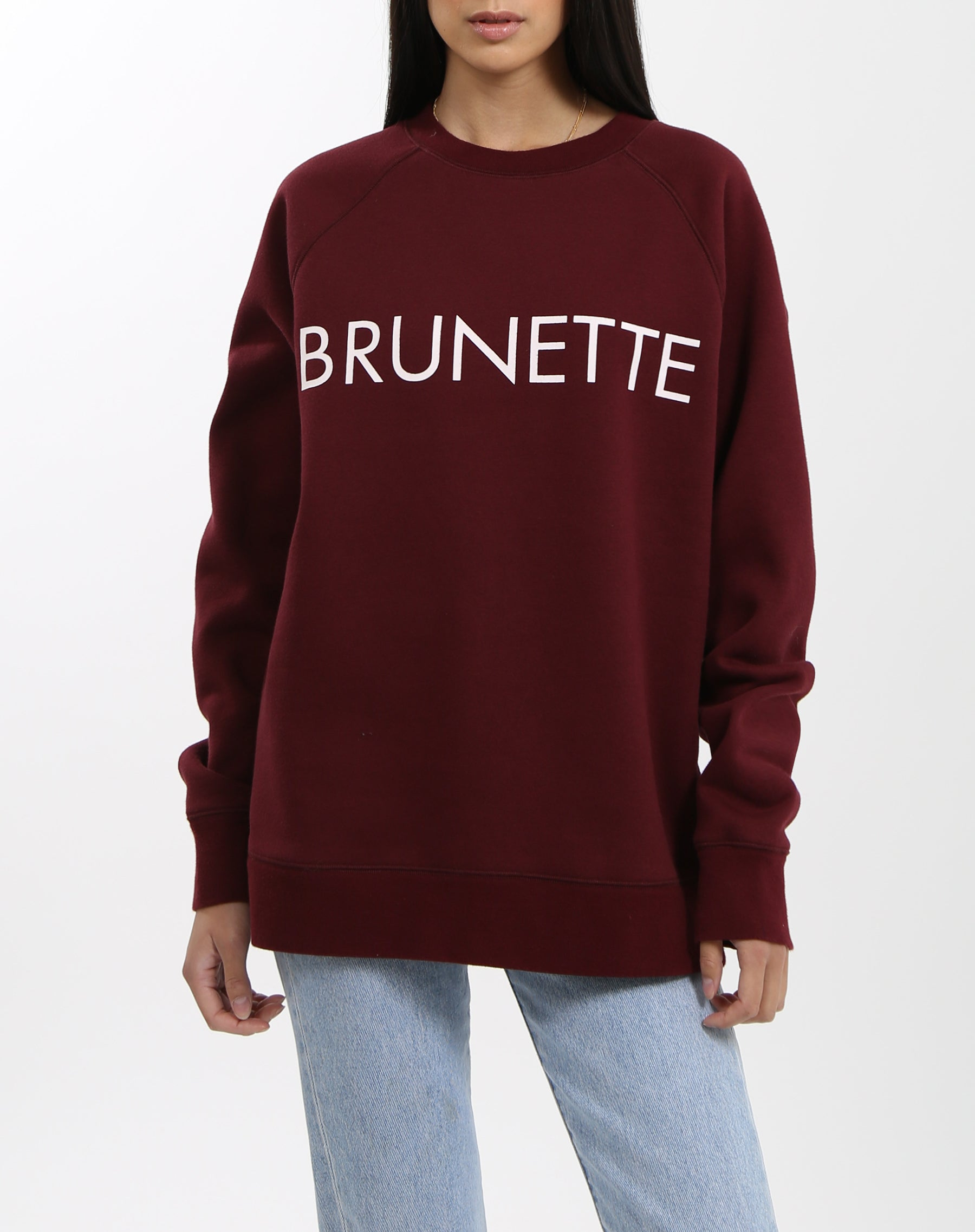 Photo of the Brunette classic crew neck sweatshirt in burgundy by Brunette the Label.