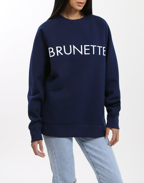 Photo of the Brunette classic crew neck sweatshirt in navy by Brunette the Label.