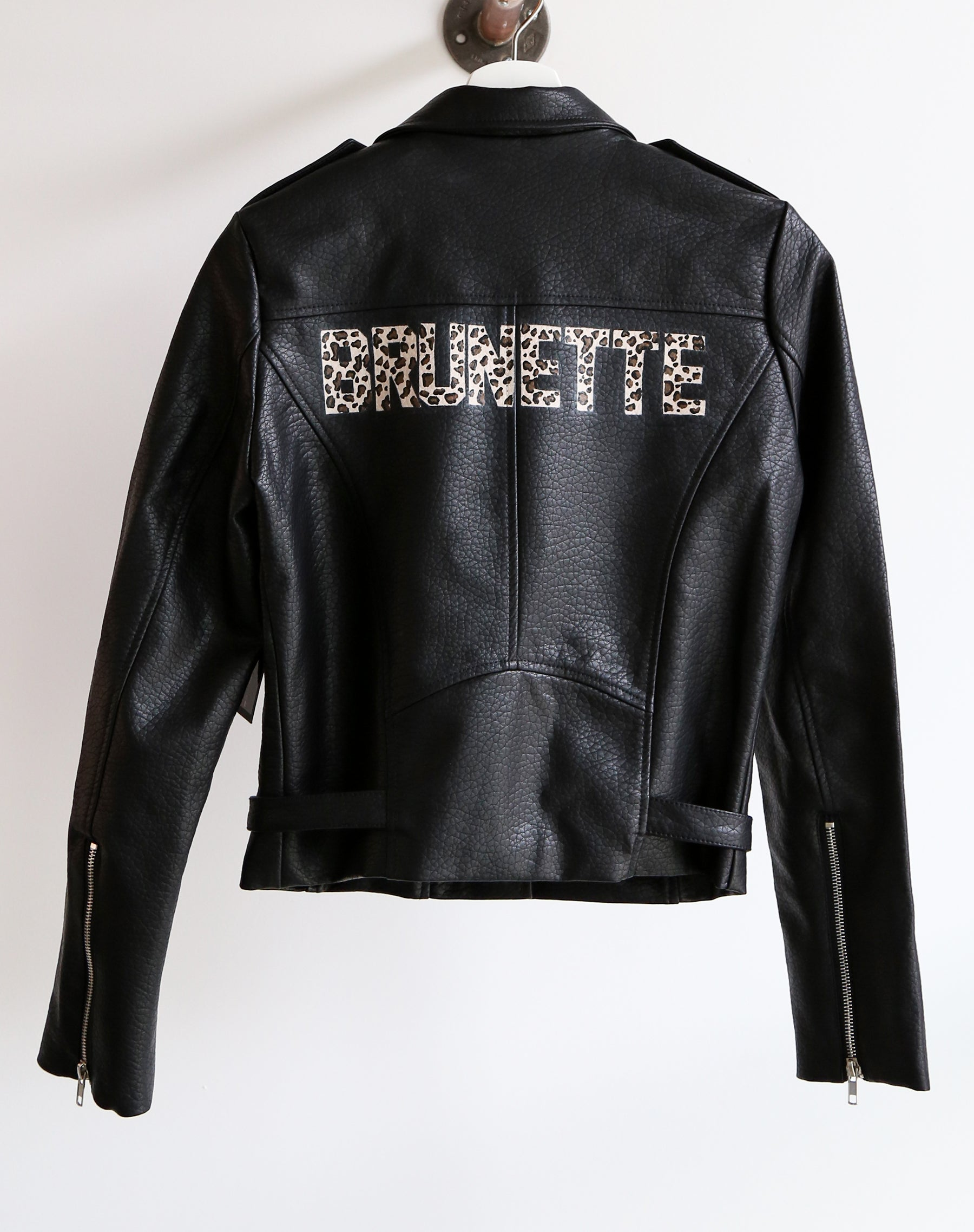 The Brunette Florence hand painted vegan leather moto jacket in leopard by Brunette the Label.