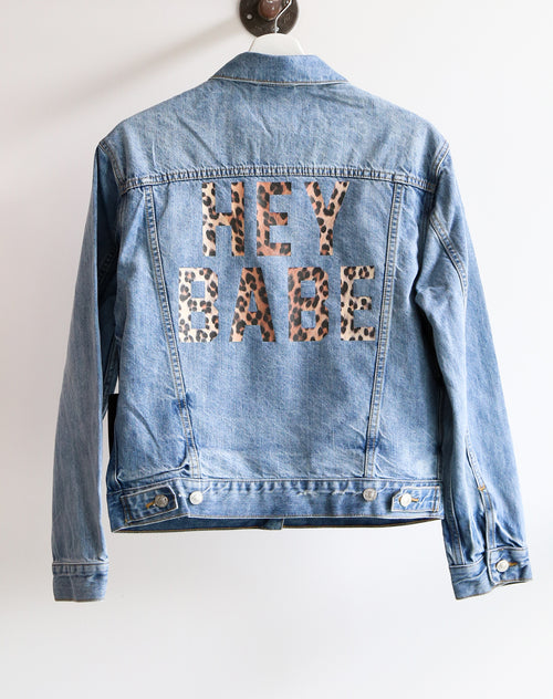 The Lindsay denim jacket with Hey Babe leopard print by Brunette the Label.