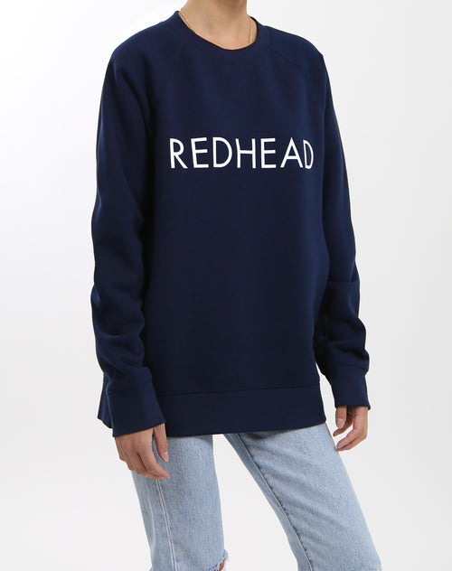 The Redhead classic crew neck sweatshirt in navy by Brunette the Label.