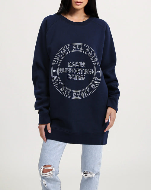 Photo of the Uplift All Babes big sister crew neck sweatshirt in navy by Brunette the Label.