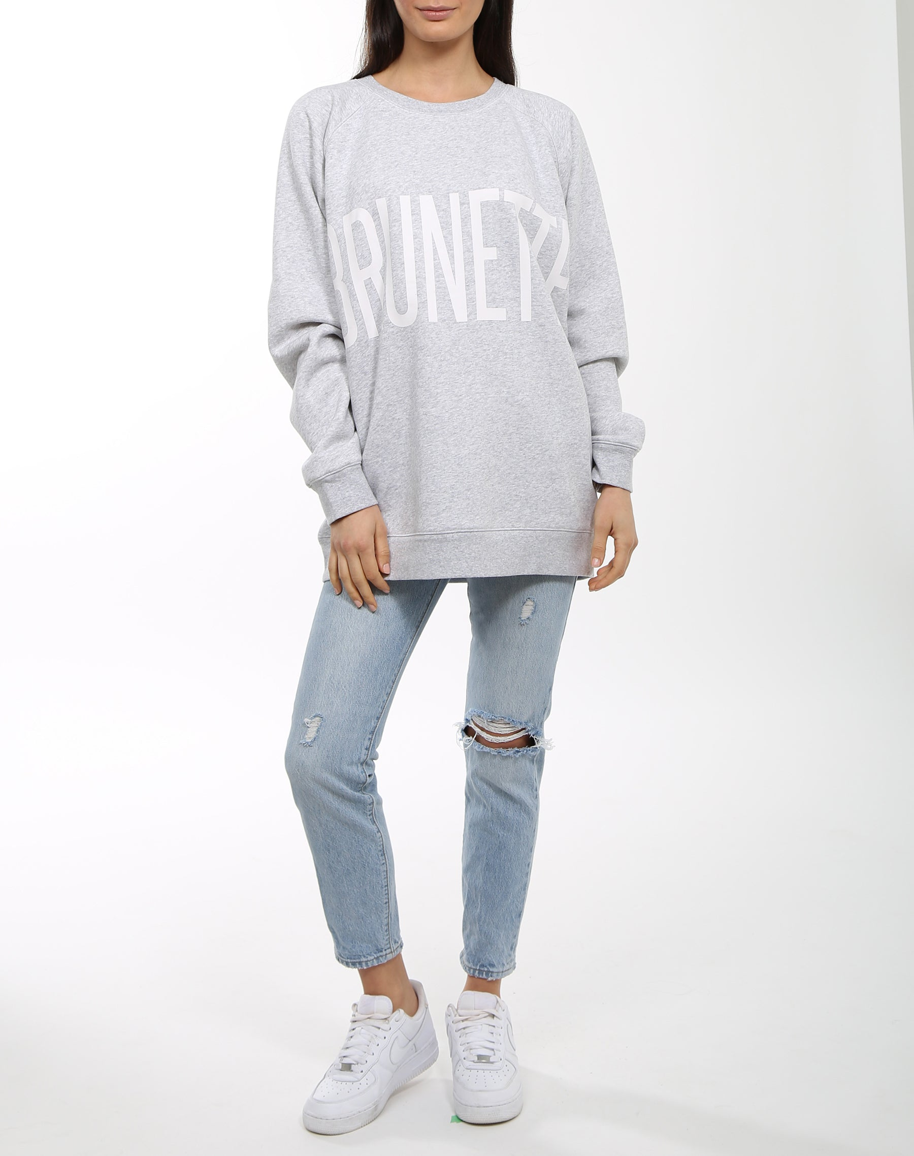 Photo 3 of the Brunette big sister crew neck sweatshirt in pebble grey by Brunette the Label.