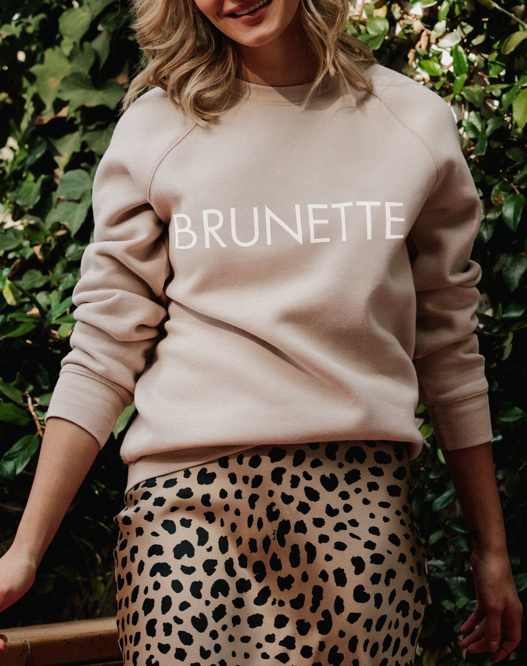 Photo of the Brunette classic crew neck sweatshirt in toasted almond by Brunette the Label.