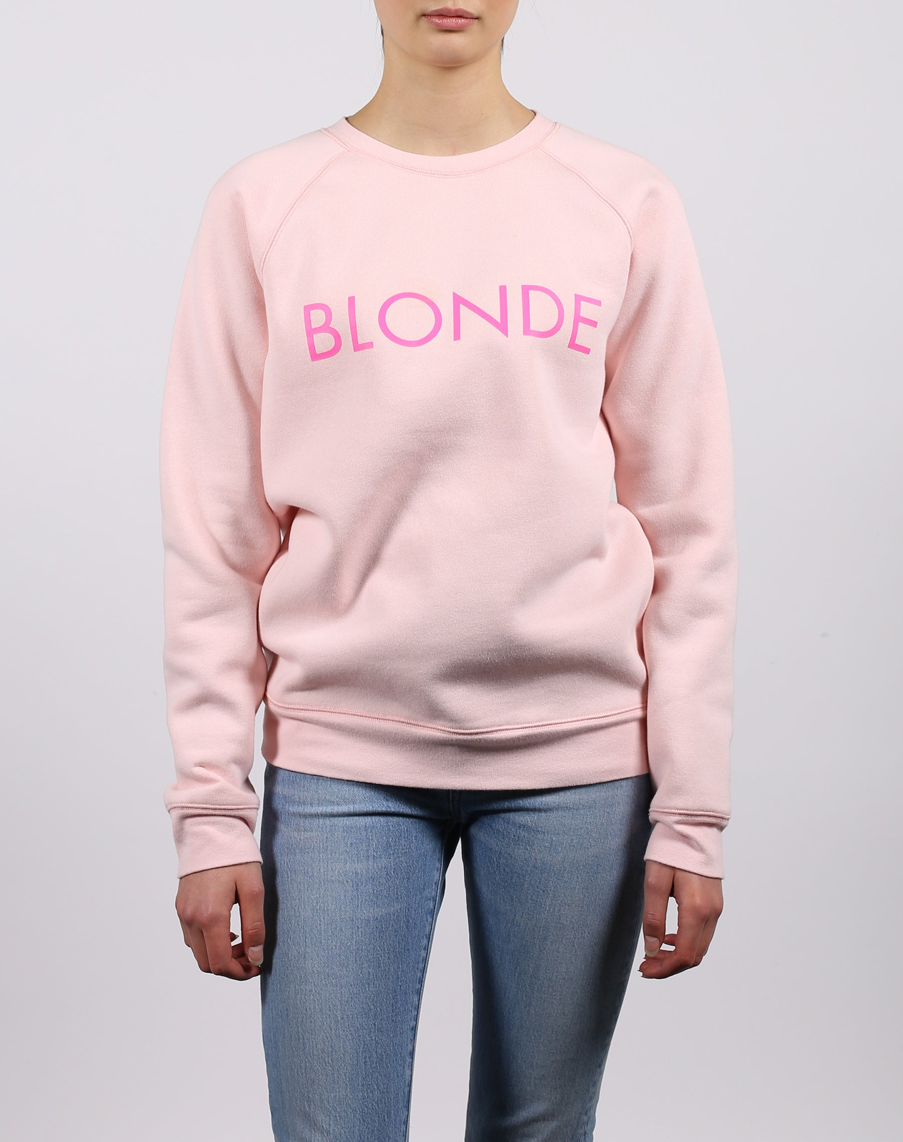 this is a photo of the blonde classic crew neck sweatshirt in ballet slipper by brunette the label.