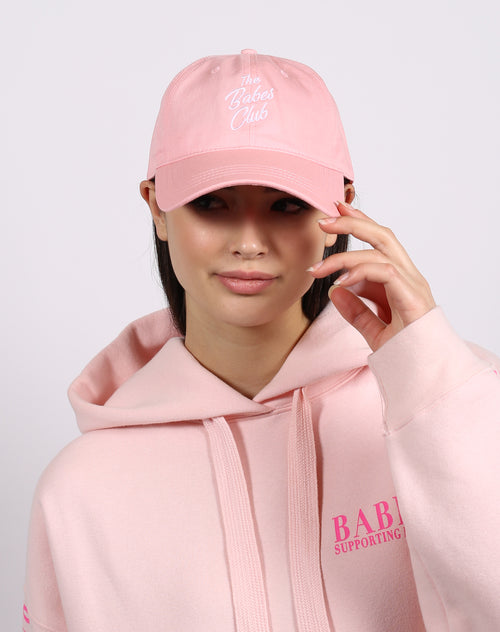 This is a photo of the babes club baseball hat in ballet slipper by brunette the label.