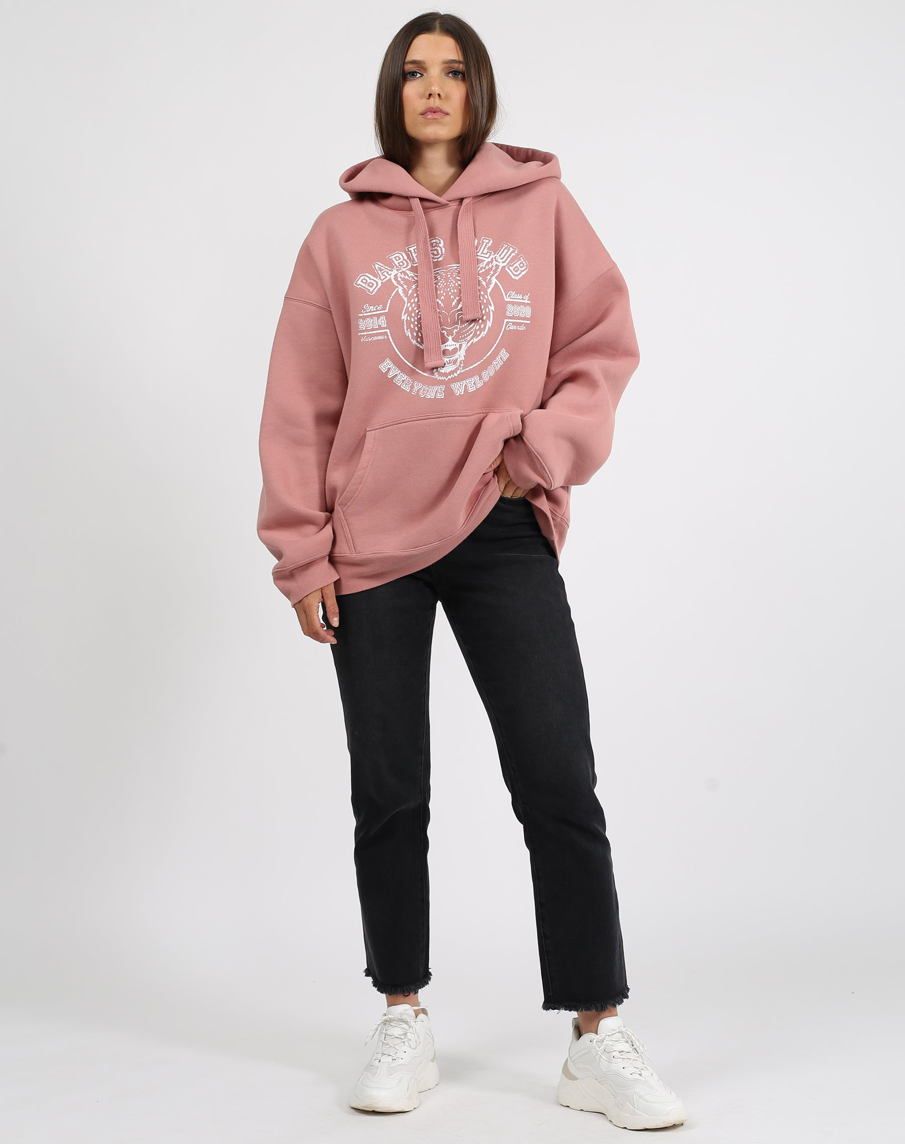 This is a photo of a model wearing the babes club leopard big sister hoodie in vintage rose by brunette the label.